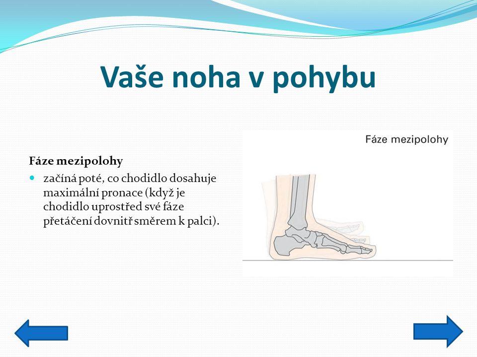 Vaše noha v pohybu Fáze mezipolohy