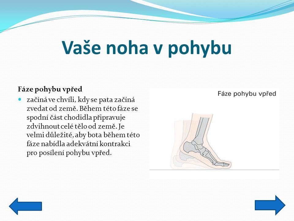 Vaše noha v pohybu Fáze pohybu vpřed