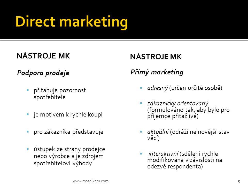 Direct marketing Nástroje MK Nástroje Mk Podpora prodeje