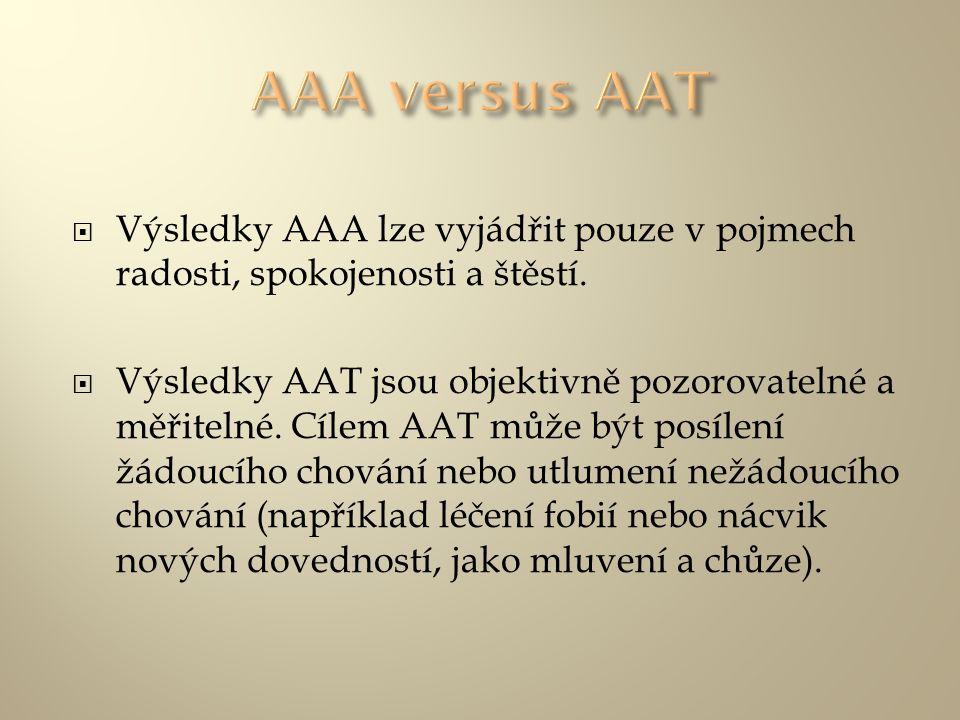 AAA versus AAT Výsledky AAA lze vyjádřit pouze v pojmech radosti, spokojenosti a štěstí.