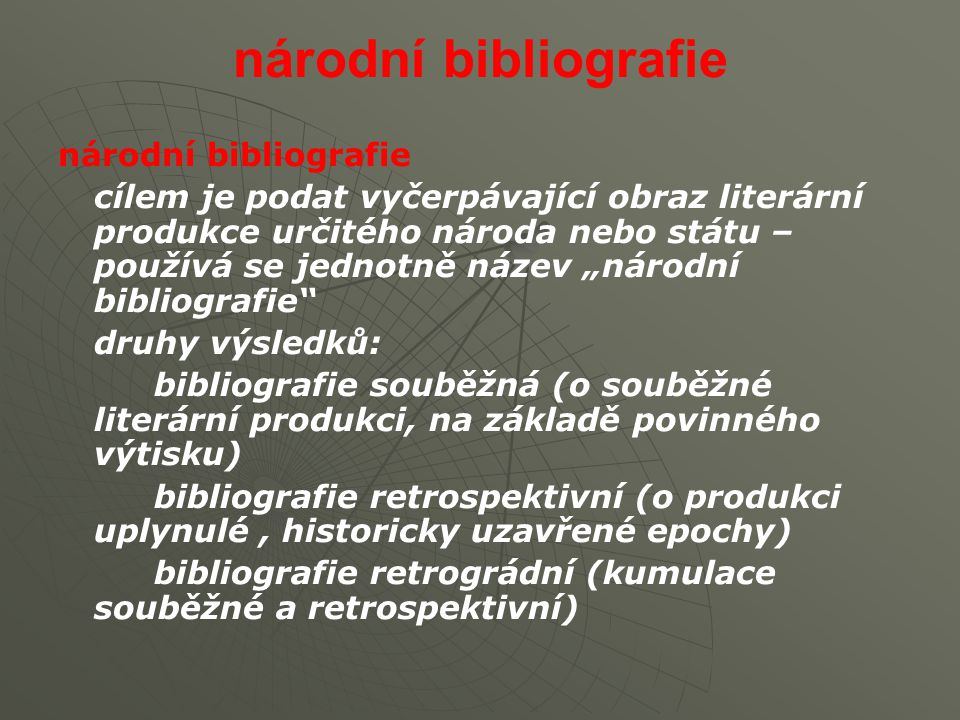 národní bibliografie národní bibliografie