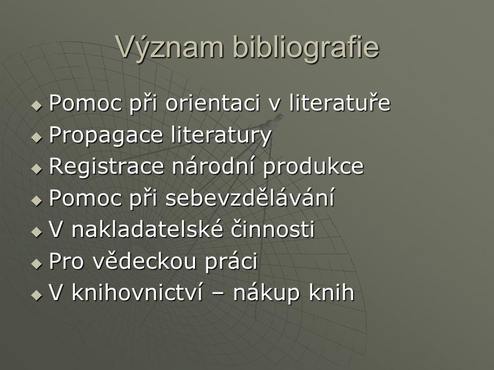Význam bibliografie Pomoc při orientaci v literatuře