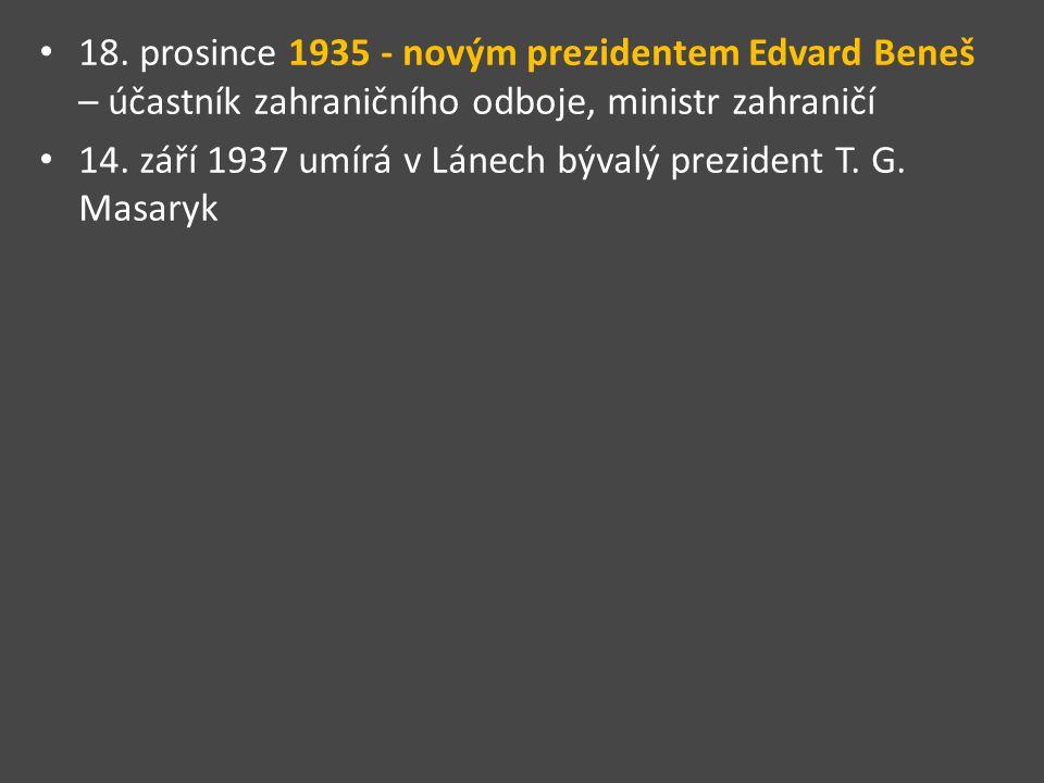 18. prosince 1935 - novým prezidentem Edvard Beneš – účastník zahraničního odboje, ministr zahraničí
