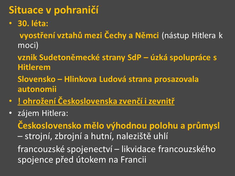 Situace v pohraničí 30. léta: vyostření vztahů mezi Čechy a Němci (nástup Hitlera k moci)