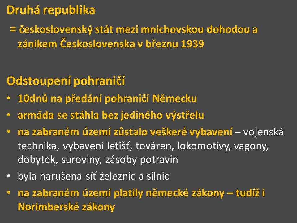 Druhá republika = československý stát mezi mnichovskou dohodou a zánikem Československa v březnu 1939.