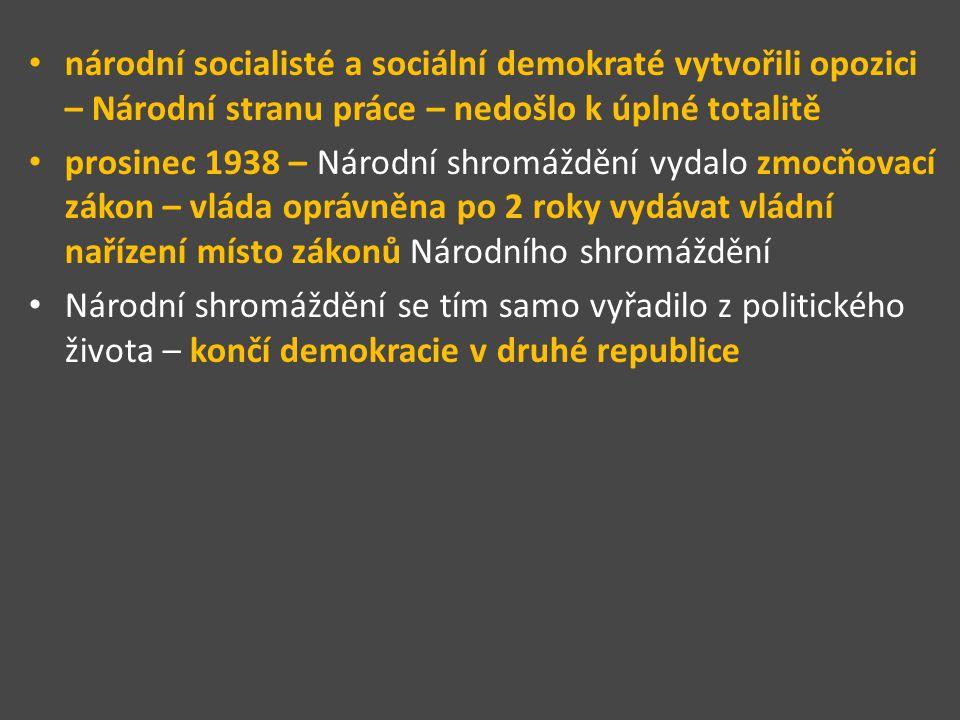 národní socialisté a sociální demokraté vytvořili opozici – Národní stranu práce – nedošlo k úplné totalitě