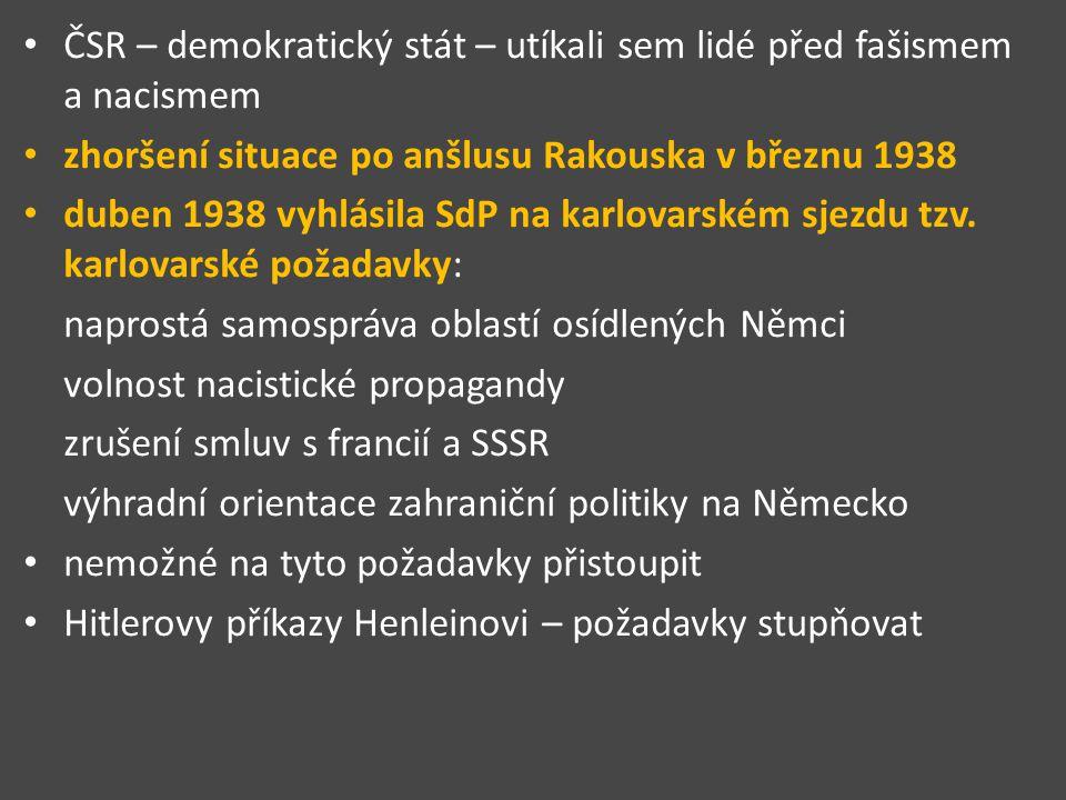 ČSR – demokratický stát – utíkali sem lidé před fašismem a nacismem