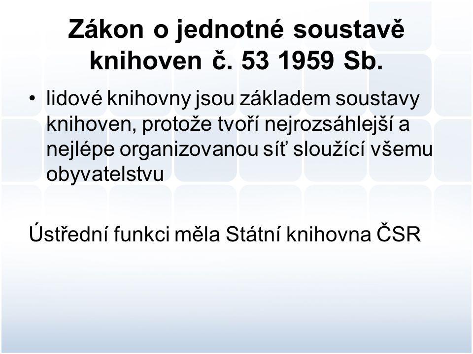 Zákon o jednotné soustavě knihoven č. 53 1959 Sb.