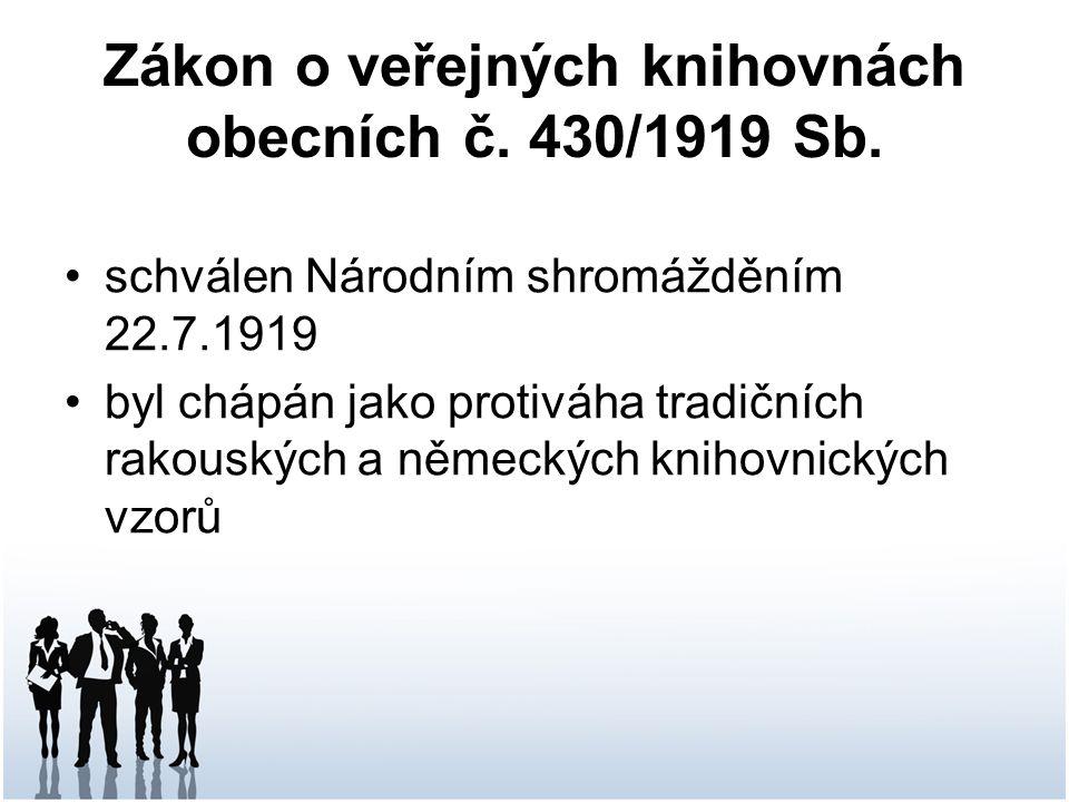 Zákon o veřejných knihovnách obecních č. 430/1919 Sb.