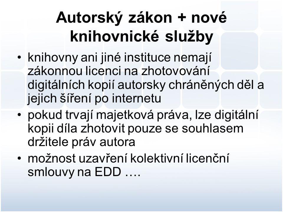 Autorský zákon + nové knihovnické služby