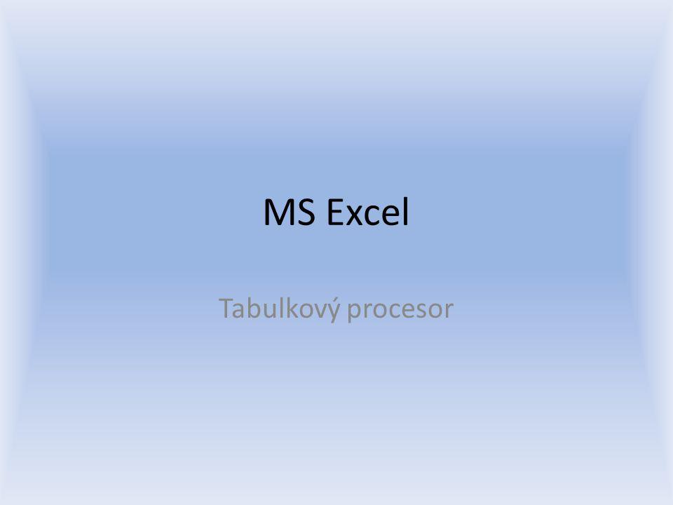 MS Excel Tabulkový procesor