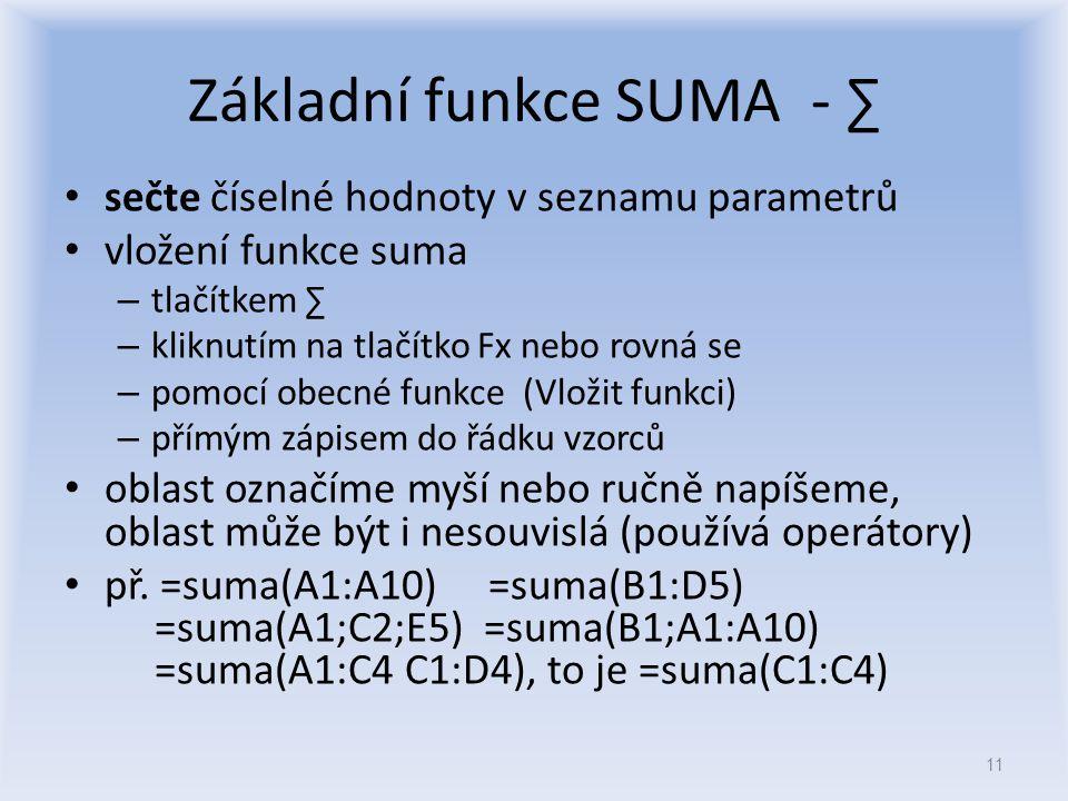 Základní funkce SUMA - ∑