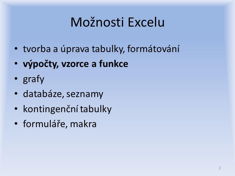 Možnosti Excelu tvorba a úprava tabulky, formátování