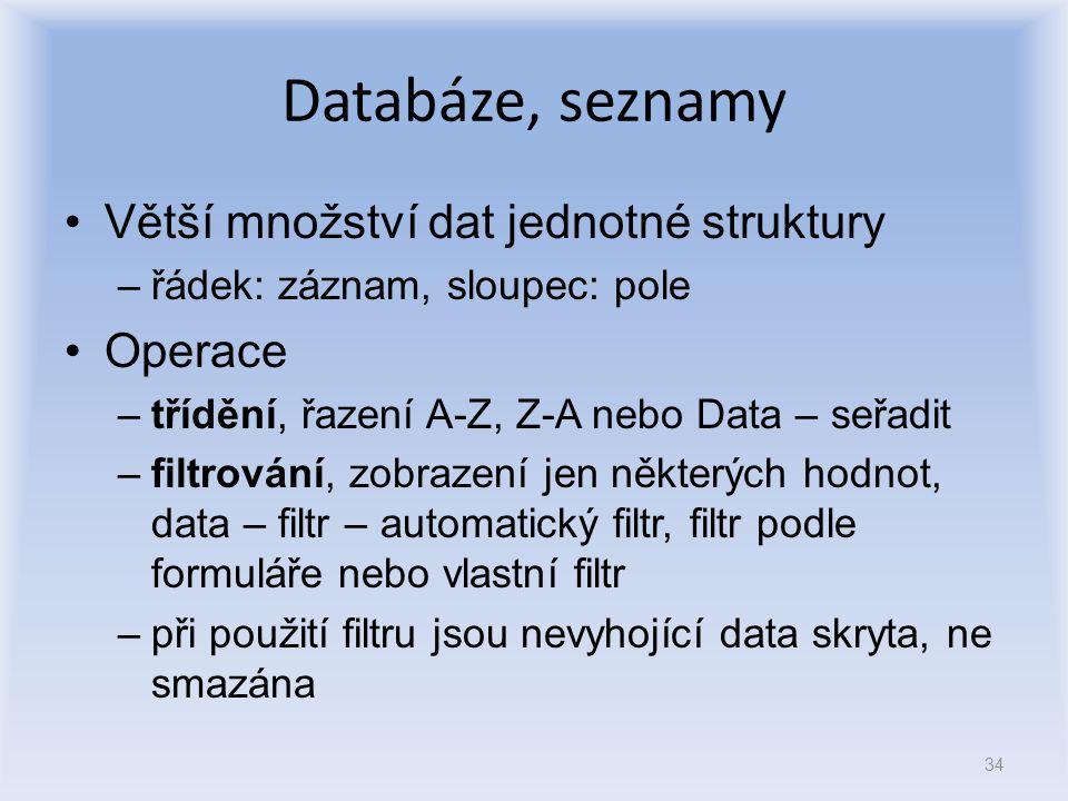 Databáze, seznamy Větší množství dat jednotné struktury Operace