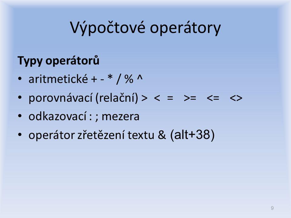 Výpočtové operátory Typy operátorů aritmetické + - * / % ^