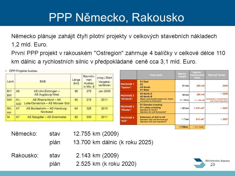 PPP Německo, Rakousko Německo plánuje zahájit čtyři pilotní projekty v celkových stavebních nákladech 1,2 mld. Euro.
