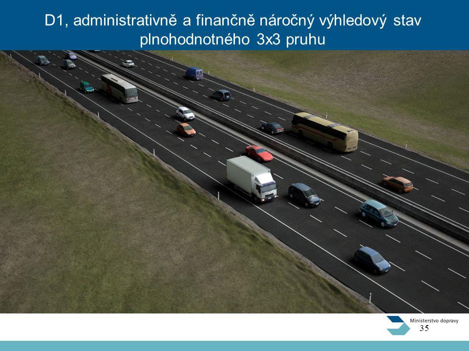 D1, administrativně a finančně náročný výhledový stav plnohodnotného 3x3 pruhu