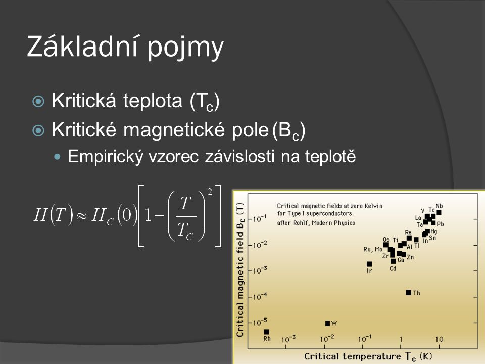 Základní pojmy Kritická teplota (Tc) Kritické magnetické pole (Bc)