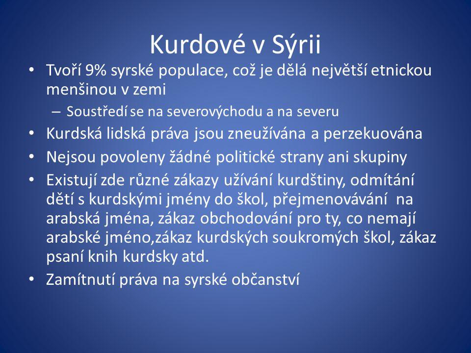 Kurdové v Sýrii Tvoří 9% syrské populace, což je dělá největší etnickou menšinou v zemi. Soustředí se na severovýchodu a na severu.