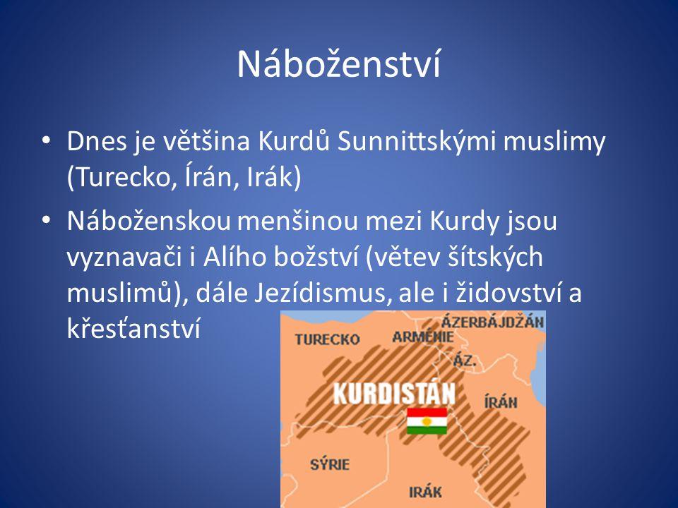 Náboženství Dnes je většina Kurdů Sunnittskými muslimy (Turecko, Írán, Irák)