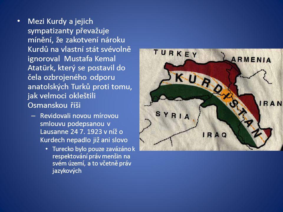 Mezi Kurdy a jejich sympatizanty převažuje mínění, že zakotvení nároku Kurdů na vlastní stát svévolně ignoroval Mustafa Kemal Atatürk, který se postavil do čela ozbrojeného odporu anatolských Turků proti tomu, jak velmoci okleštili Osmanskou říši