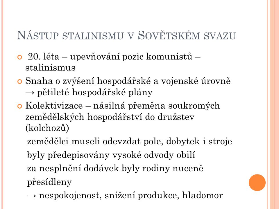 Nástup stalinismu v Sovětském svazu
