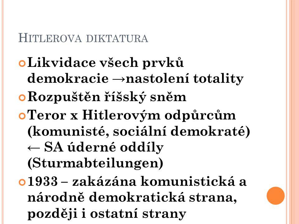 Likvidace všech prvků demokracie →nastolení totality