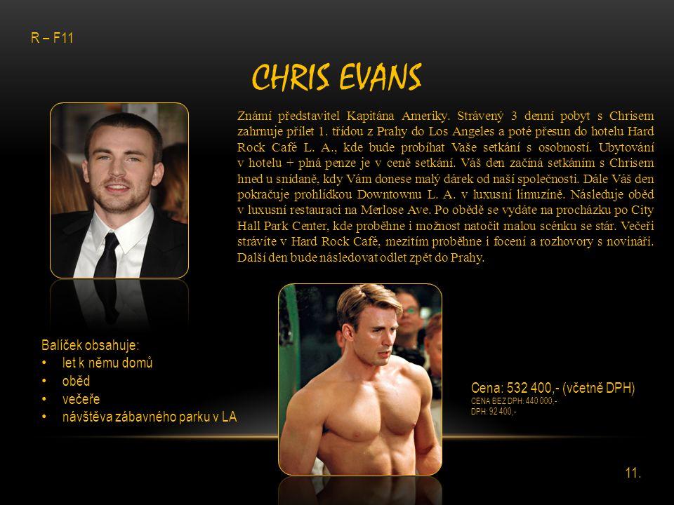 Chris Evans R – F11 Balíček obsahuje: let k němu domů oběd večeře