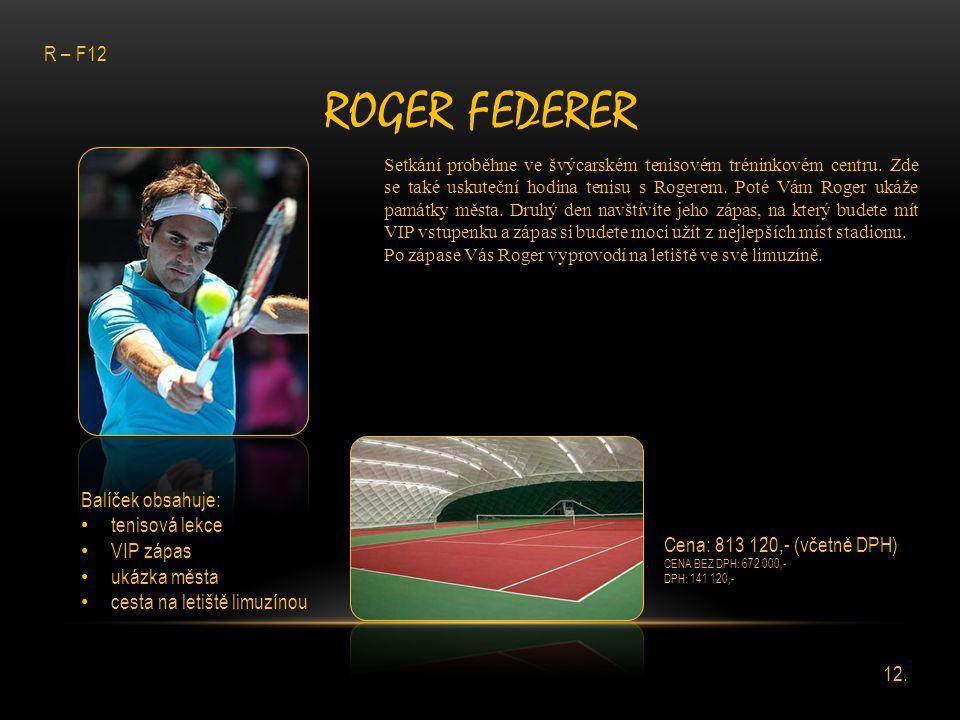 Roger Federer R – F12 Balíček obsahuje: tenisová lekce VIP zápas