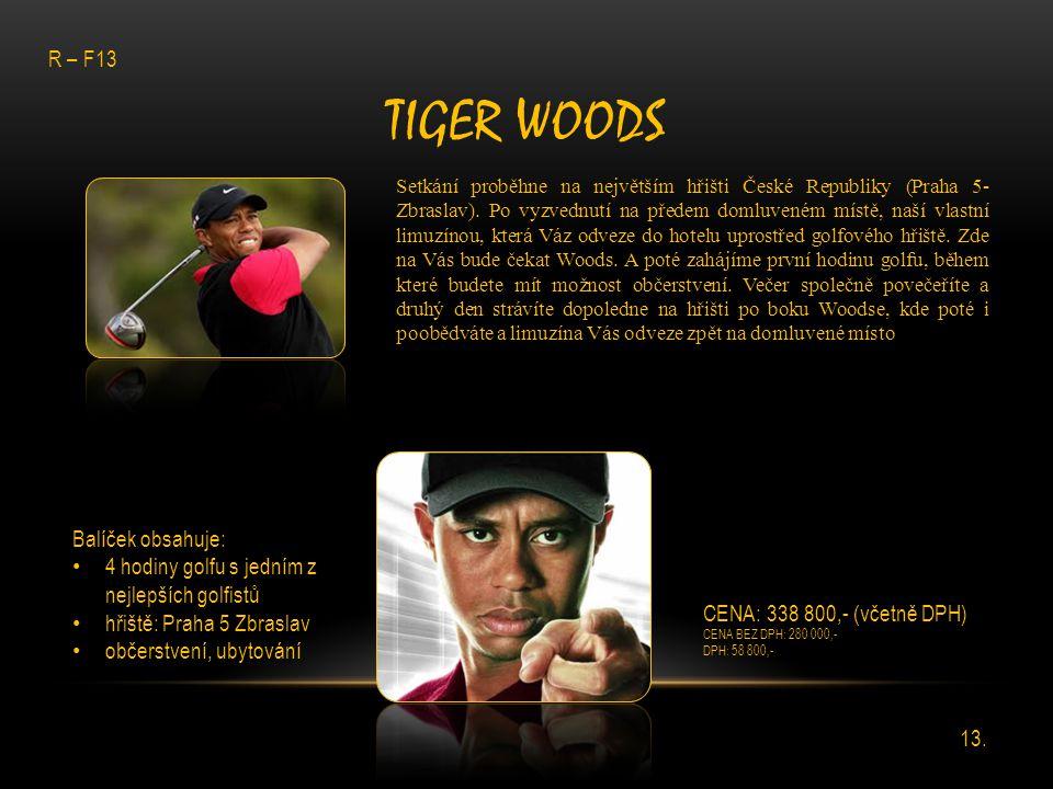 Tiger Woods R – F13 Balíček obsahuje: