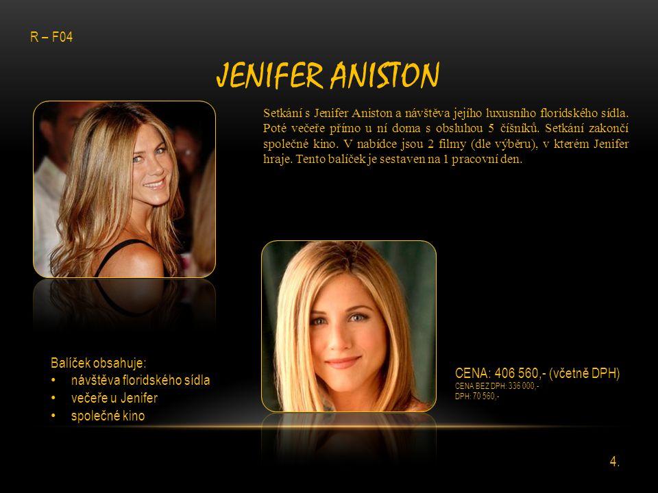 Jenifer Aniston R – F04 Balíček obsahuje: návštěva floridského sídla