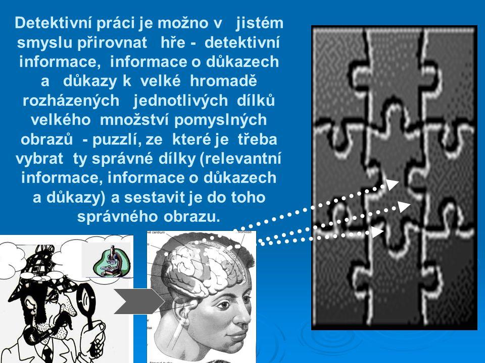 Detektivní práci je možno v jistém smyslu přirovnat hře - detektivní informace, informace o důkazech a důkazy k velké hromadě rozházených jednotlivých dílků velkého množství pomyslných obrazů - puzzlí, ze které je třeba vybrat ty správné dílky (relevantní