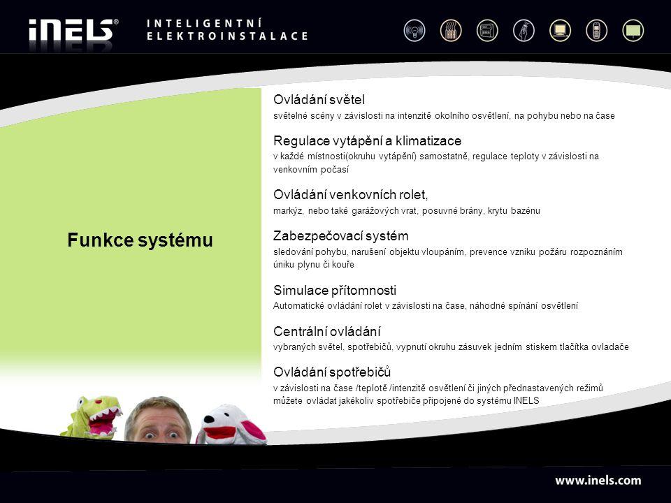 Funkce systému Ovládání světel Regulace vytápění a klimatizace