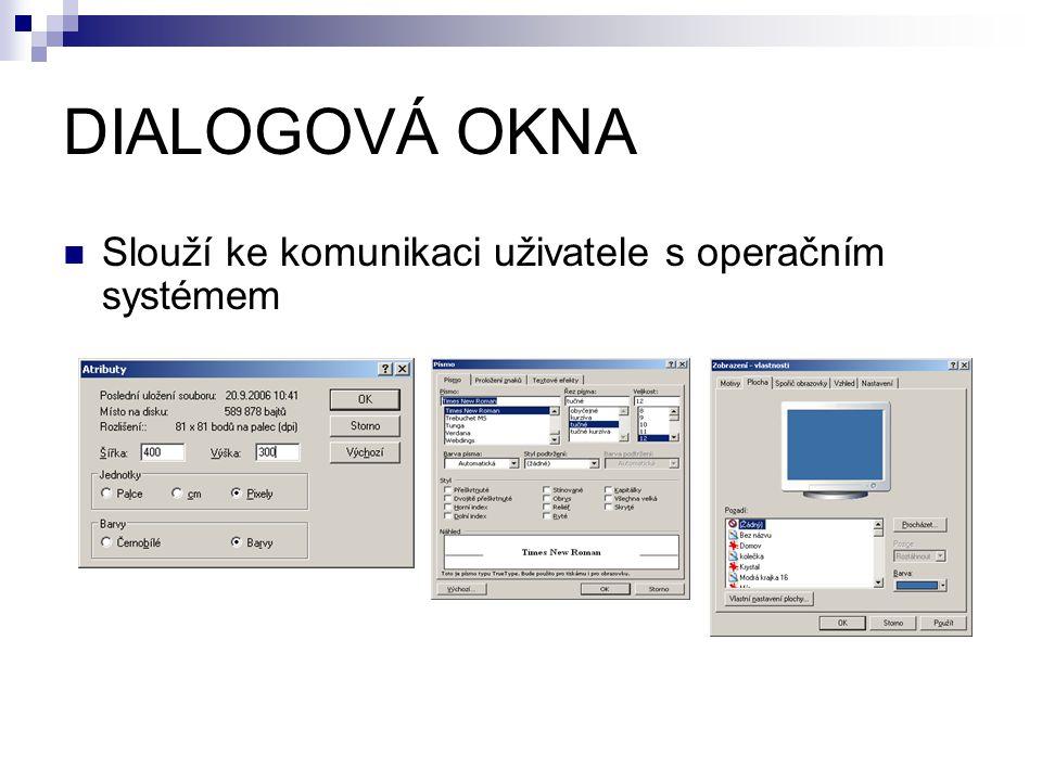 DIALOGOVÁ OKNA Slouží ke komunikaci uživatele s operačním systémem