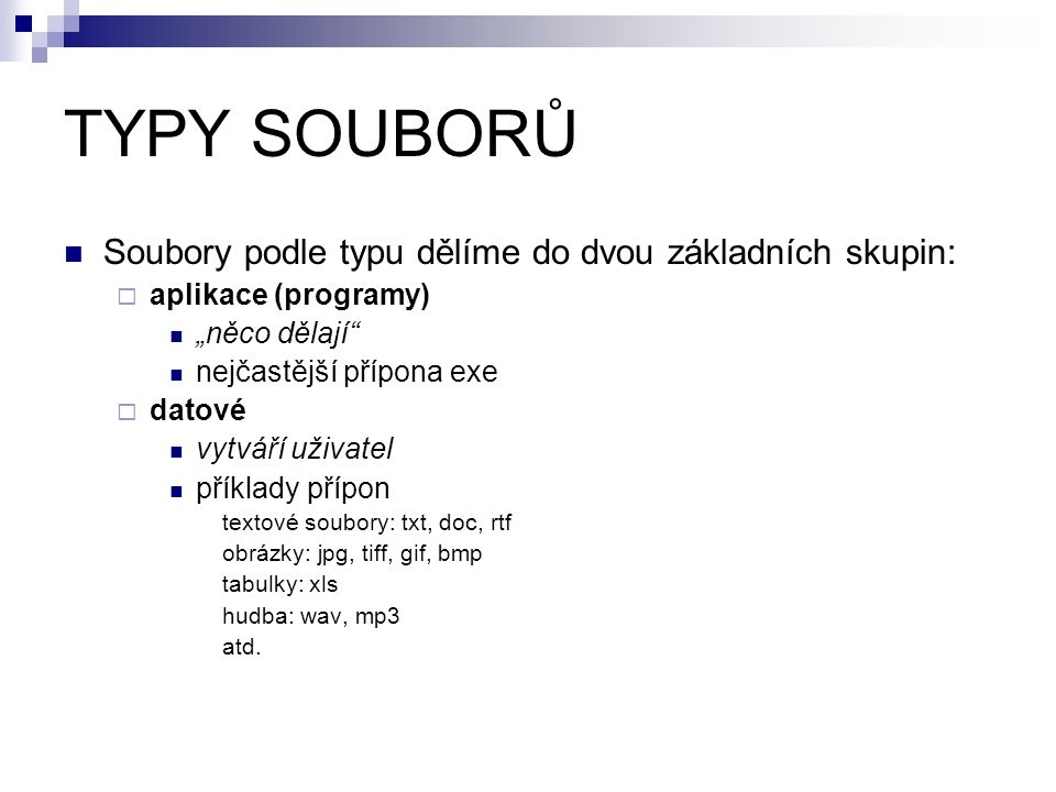 TYPY SOUBORŮ Soubory podle typu dělíme do dvou základních skupin: