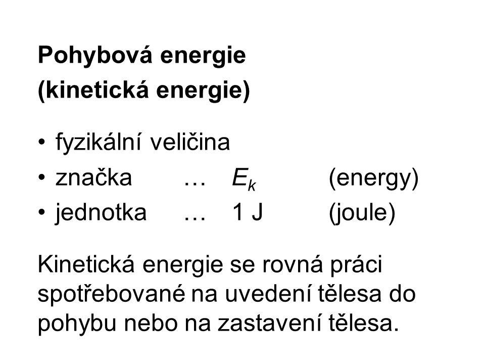 Pohybová energie (kinetická energie) fyzikální veličina. značka … Ek (energy) jednotka … 1 J (joule)