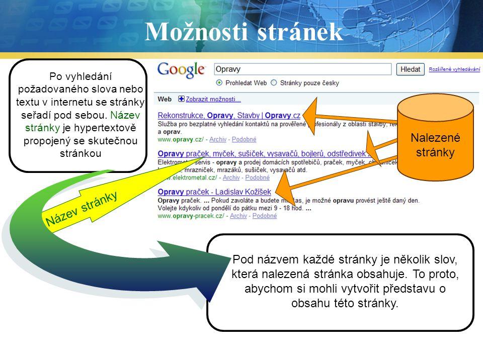 Možnosti stránek Text Nalezené stránky Text Název stránky Text Text