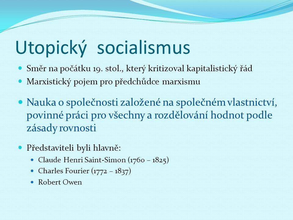 Utopický socialismus Směr na počátku 19. stol., který kritizoval kapitalistický řád. Marxistický pojem pro předchůdce marxismu.