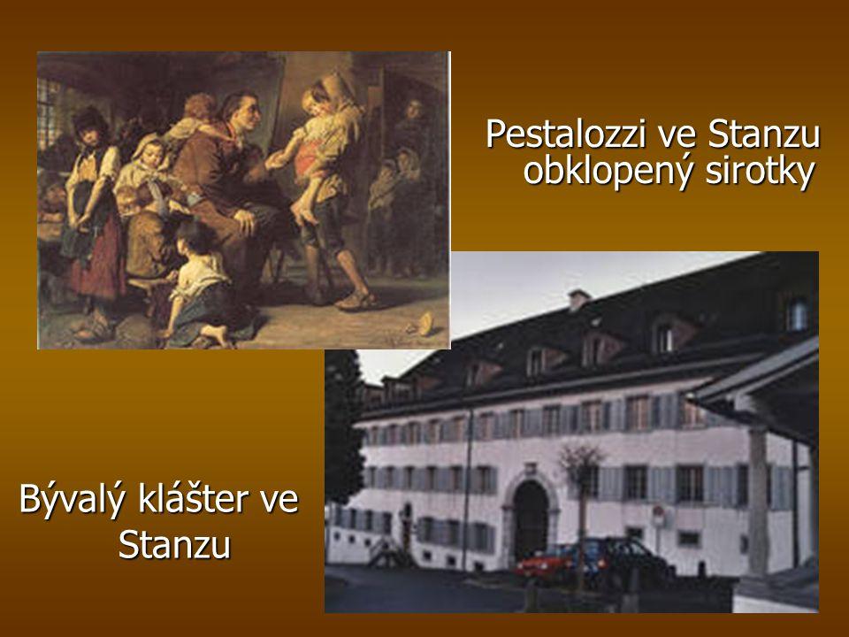 Pestalozzi ve Stanzu obklopený sirotky