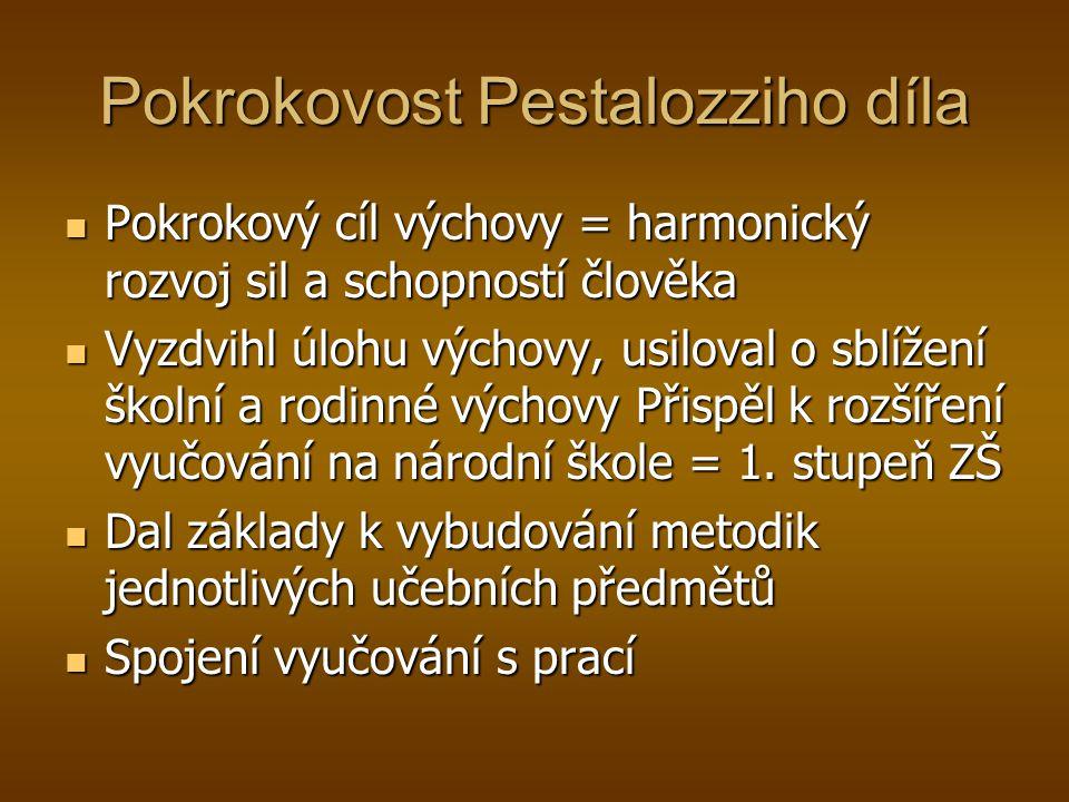 Pokrokovost Pestalozziho díla