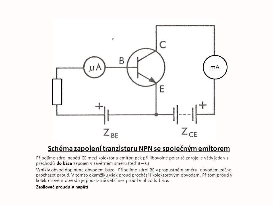 Schéma zapojení tranzistoru NPN se společným emitorem