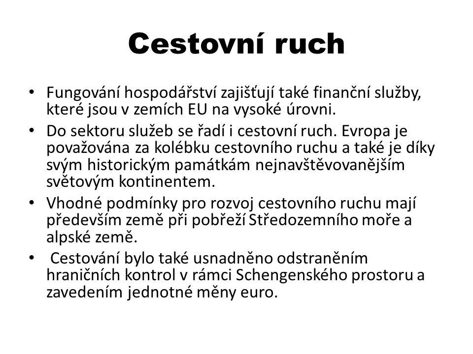Cestovní ruch Fungování hospodářství zajišťují také finanční služby, které jsou v zemích EU na vysoké úrovni.