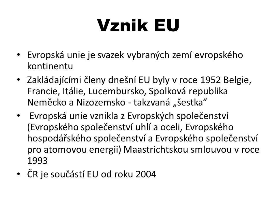 Vznik EU Evropská unie je svazek vybraných zemí evropského kontinentu