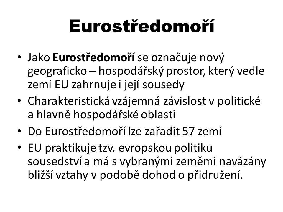 Eurostředomoří Jako Eurostředomoří se označuje nový geograficko – hospodářský prostor, který vedle zemí EU zahrnuje i její sousedy.