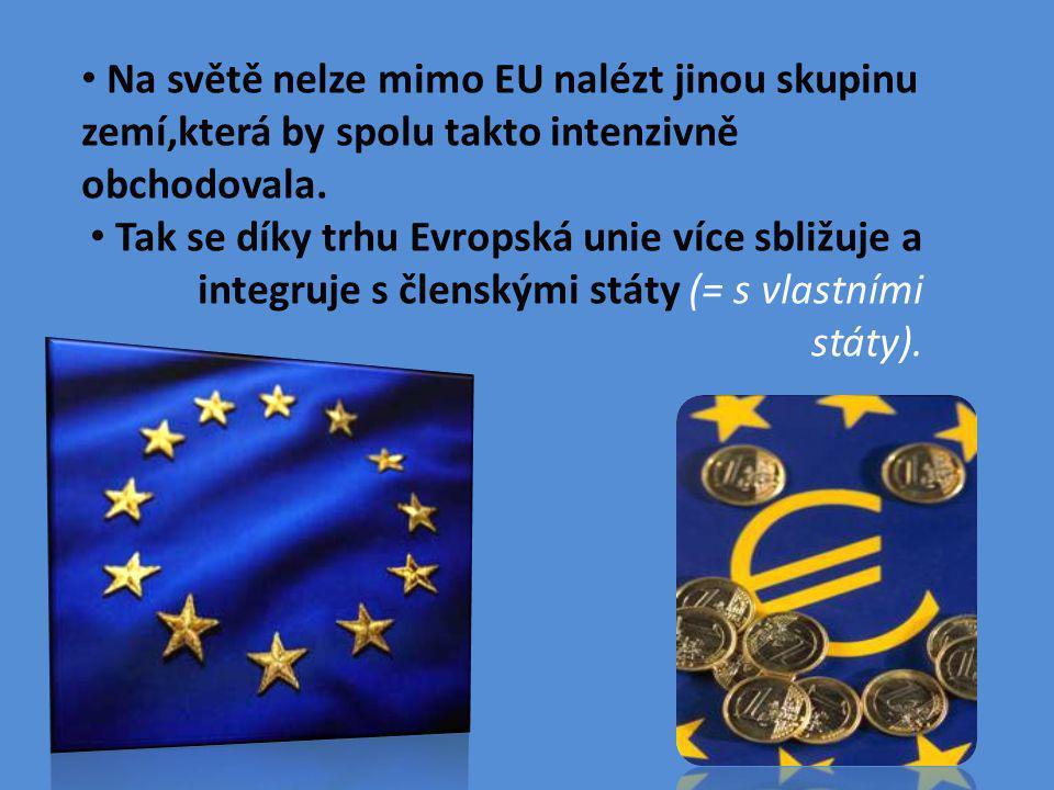 Na světě nelze mimo EU nalézt jinou skupinu zemí,která by spolu takto intenzivně obchodovala.