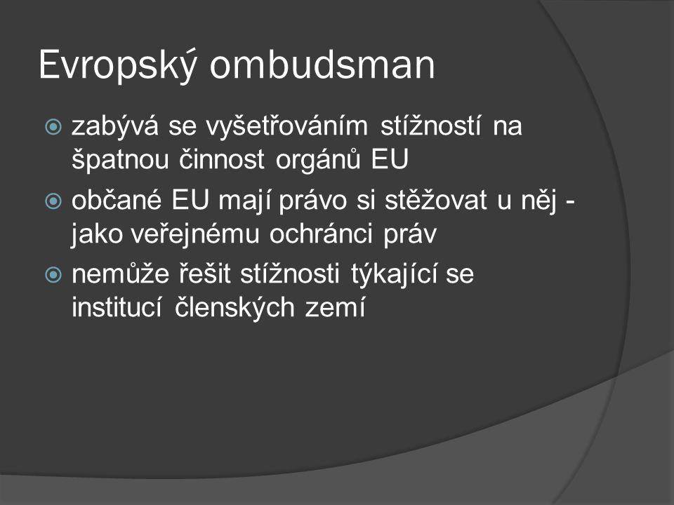 Evropský ombudsman zabývá se vyšetřováním stížností na špatnou činnost orgánů EU.