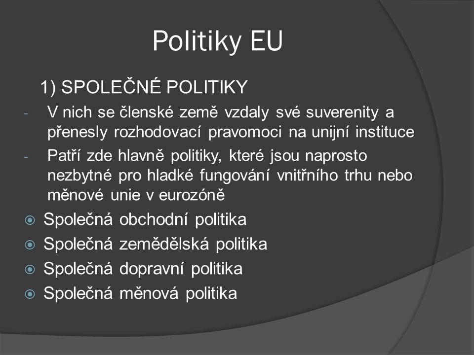 Politiky EU 1) SPOLEČNÉ POLITIKY Společná obchodní politika