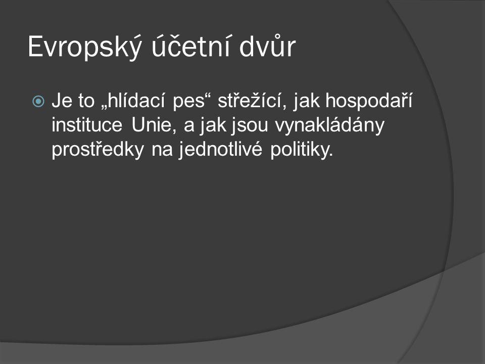 """Evropský účetní dvůr Je to """"hlídací pes střežící, jak hospodaří instituce Unie, a jak jsou vynakládány prostředky na jednotlivé politiky."""