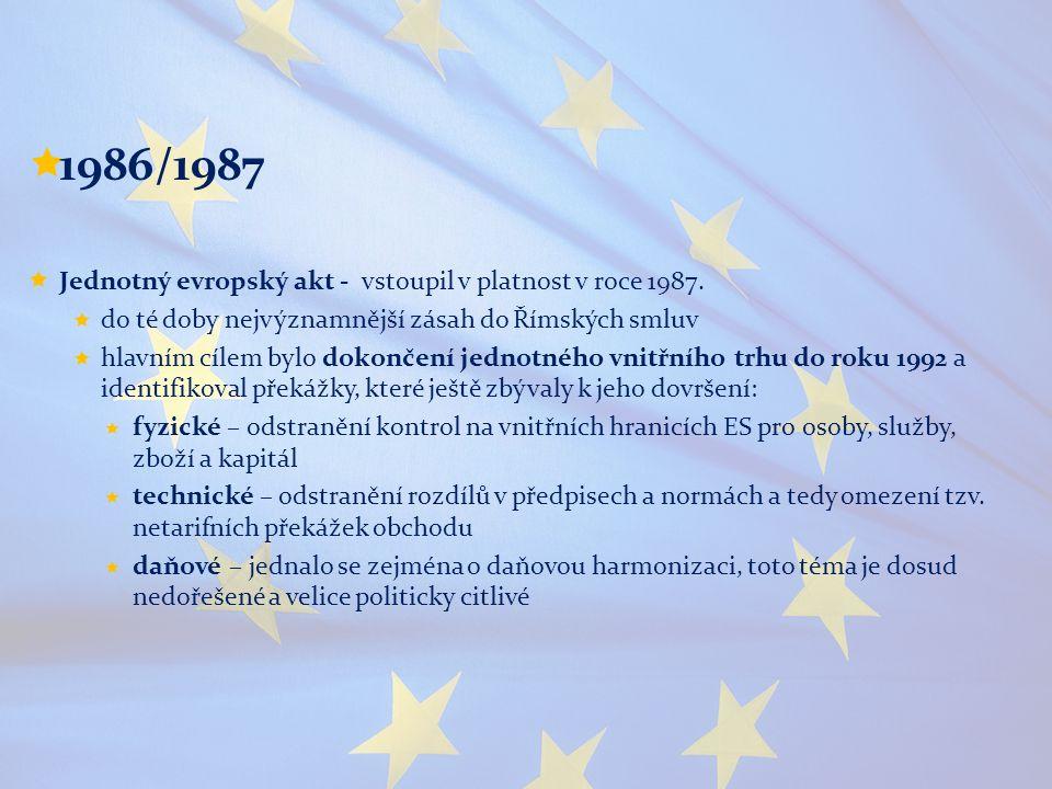 1986/1987 Jednotný evropský akt - vstoupil v platnost v roce 1987.