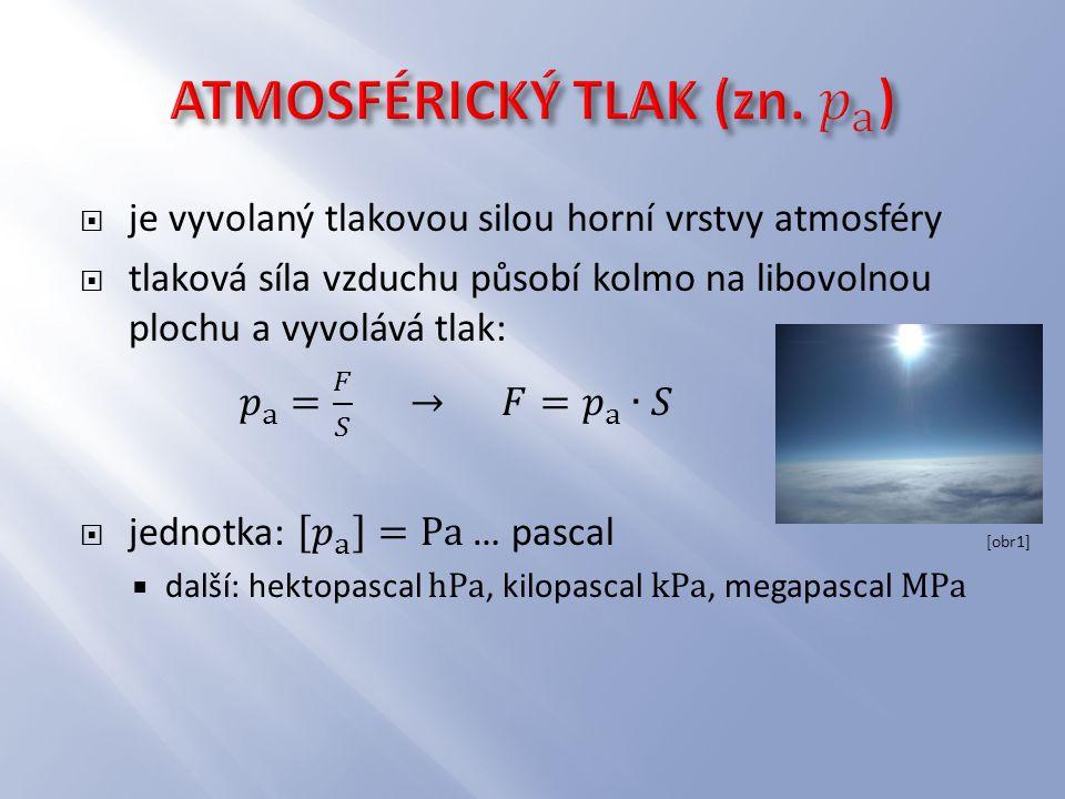 ATMOSFÉRICKÝ TLAK (zn. 𝑝 a )